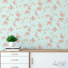 Miętowa tapeta na ścianę w stylu Vintage w kwiaty malowane