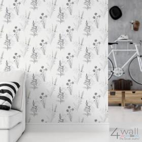 Tapeta na ścianę czarnobiała z wzorem roślinnym