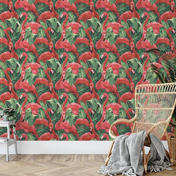 Tapeta tropikalna we flamingi liście bananowca
