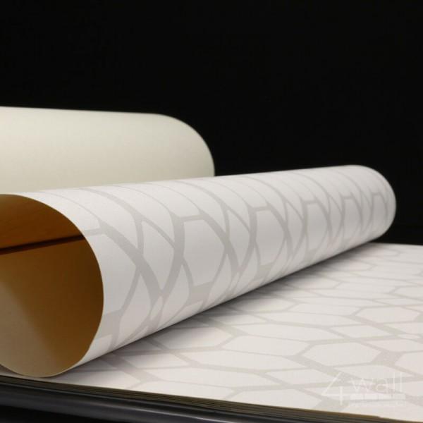 Winylowa tapeta geometryczna w jasno szare wzory na białym tle do sypialni nowoczesna