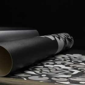 Winylowa tapeta czarna w ornamenty w stylu glamour nowoczesna do sypialni, salonu lub pokoju dziennego