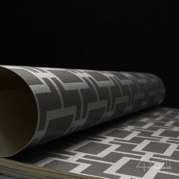 Geometryczna tapeta ścienna w srebrne wzory na czarnym tle