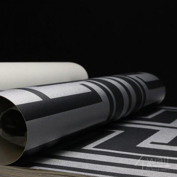 Geometryczna tapeta w srebrne wzory do jadalni