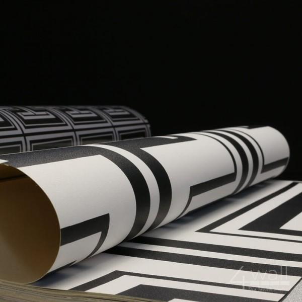 Geometryczna tapeta czarno biała do salonu