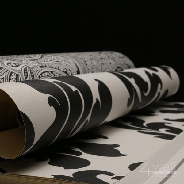 Czarno białą tapeta glamour do sypialni