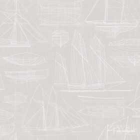 Marynistyczne tapety - beżowy wzór w żaglówki G23324