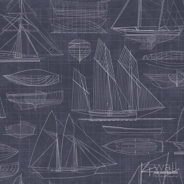 Deauville G23326 Granatowa tapeta młodzieżowa do pokoju w żaglówki marynistyczne