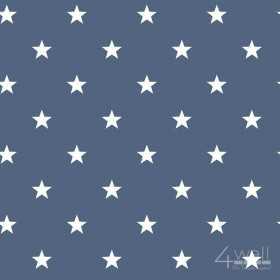 Granatowa tapeta w gwiazdki do pokoju chłopca i nastolatka - białe gwiazdy na granatowym tle