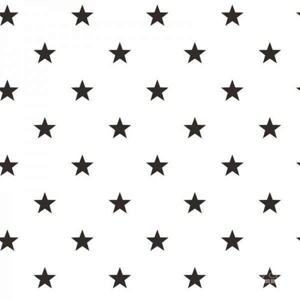 Biała tapeta w czarne gwiazdki - nowoczesny wzór do pokoju młodzieżowego, nastolatka lub dziecka