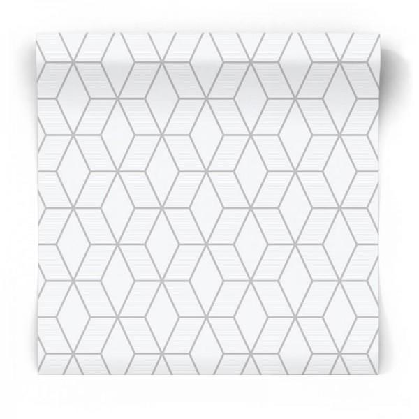 Szara tapeta 3D w srebrne wzory 101314