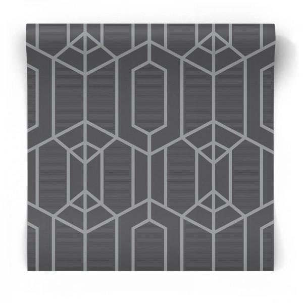 Szaro srebrna tapeta geometryczna 103951