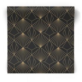 Złoto czarna tapeta geometryczna 105978