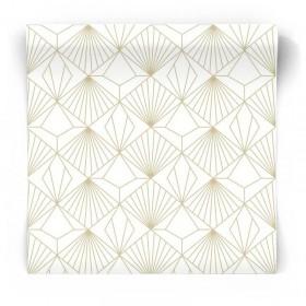 Geometryczna tapeta 3D w złote wzory 105979
