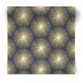 Granatowa tapeta w złote wzory 105980