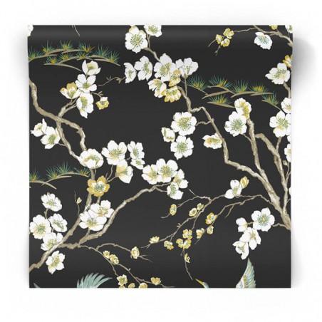 Czarna tapeta w stylu japońskim 105984