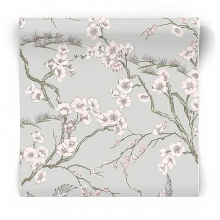 Szara tapeta w stylu japońskim 105985