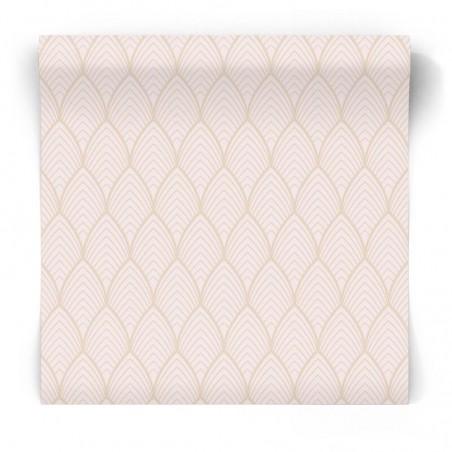 Różowa tapeta 3D w złote linie 106369