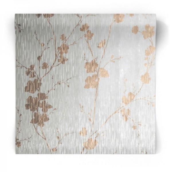 Błyszcząca tapeta w kwiaty  106601