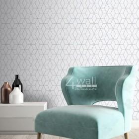 Szara tapeta geometryczna do salonu lub sypialni. Srebrne linie geometryczne na szarym tle dają efekt 3D