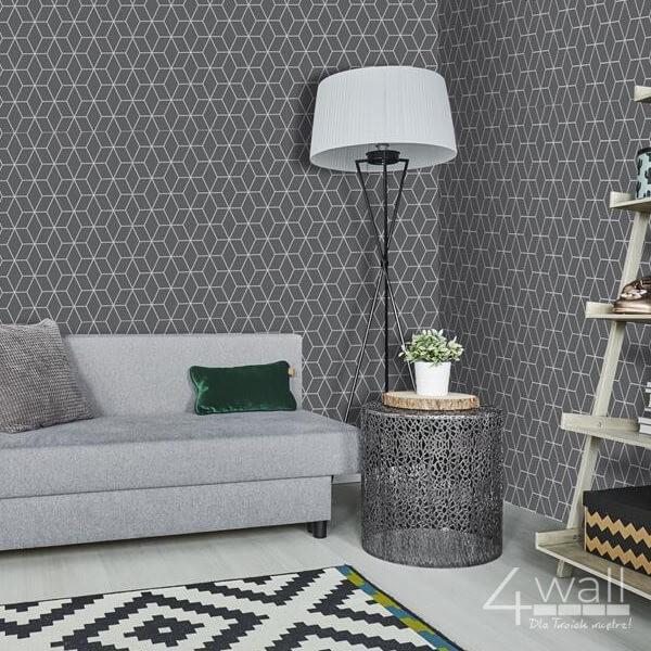 """Szara tapeta 3D w geometryczne linie """" Sieć"""" do nowoczesnego salonu aranżacja"""