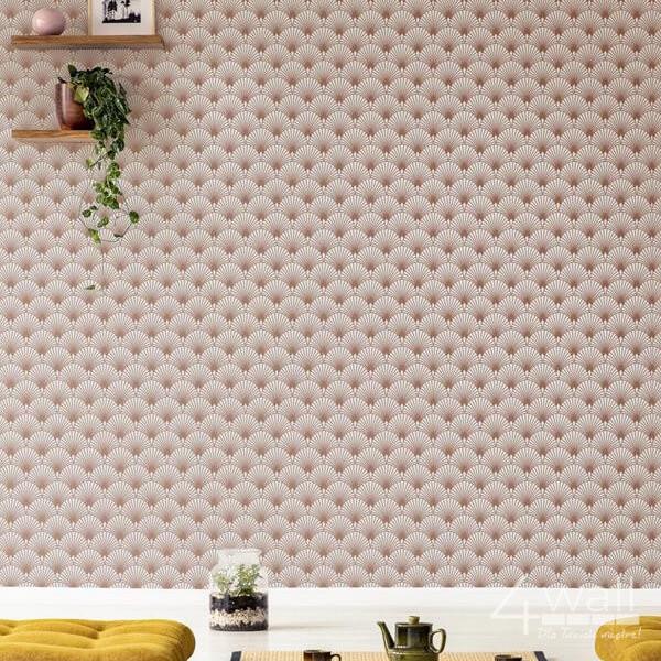 Ścienna tapeta we wzory 3D do pokoju w złote błyszczące wzory