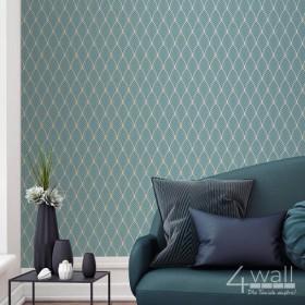 Aranżacja salonu z turkusową tapetą ścienna w złote wzory geometryczne