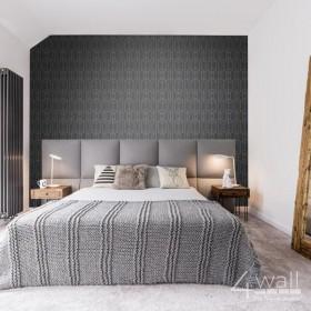 Szara tapeta geometryczna w srebrne linie 3D do sypialni