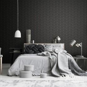 Czarna tapeta w złote wzory 3D do sypialni