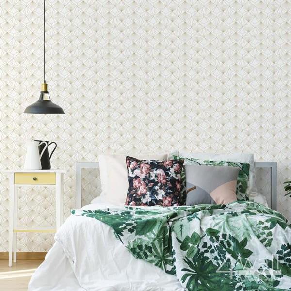 Biała tapeta w złote wzory 3D do sypialni