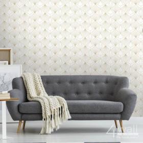 Aranżacje pokoju dziennego - złota tapeta z białym tłem winylowa we wzory 3D