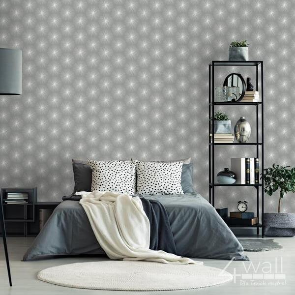 Nowoczesna tapeta ścienna w szare wzory do sypialni zmywalna