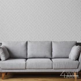Pokój dzienny, tapeta we wzory geometryczne, szare tło, geometryczne linie