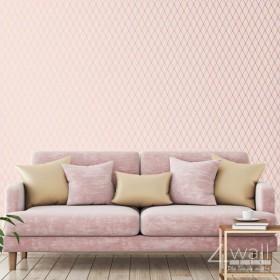 Nowoczesna tapeta w złote wzory na różowym tle