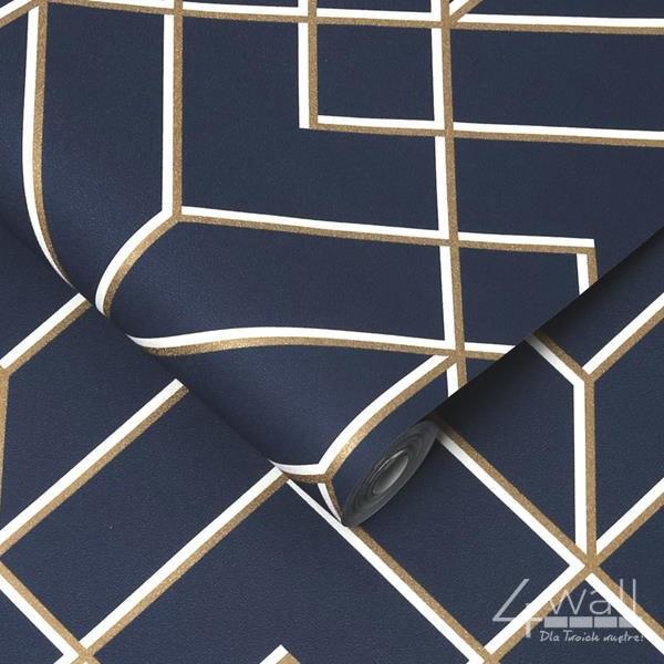 Granatowa tapeta ścienna w złote linie w stylu nowoczesnym