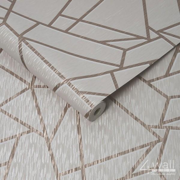 Tapeta w geometryczne wzory linie, błyszcząca złota sieć na białym tle