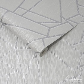 Szaro srebrna tapeta geometryczna 3D do salonu
