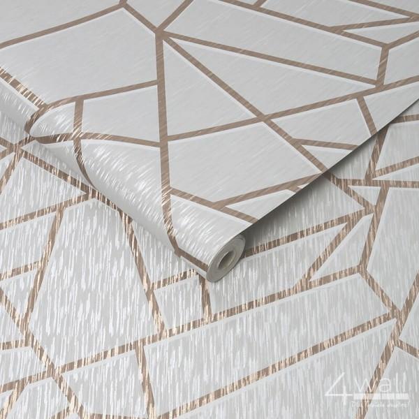 Tapeta winylowa 3D w złote geometryczne linie na białym, błyszczącym tle