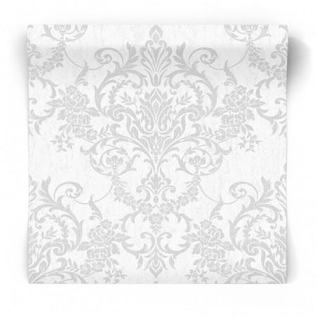 Tapeta srebrny ornament na białym tle103029