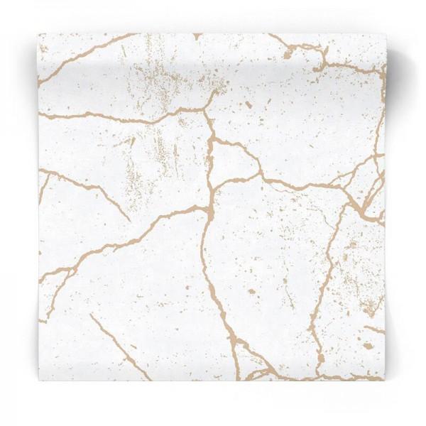 Tapeta beton w złote linie 104869