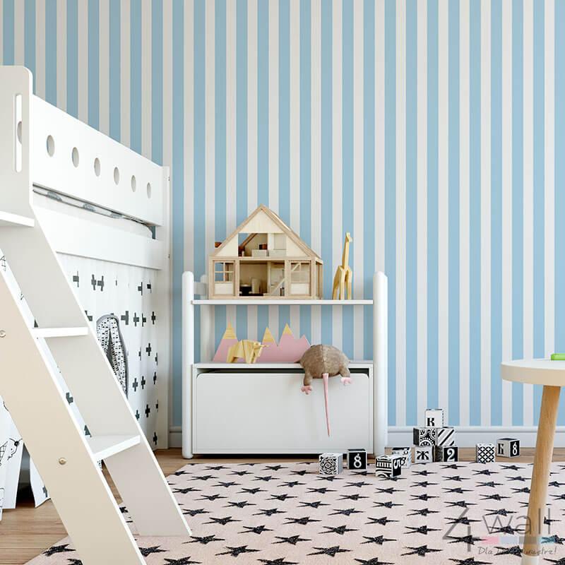 Dziecięca tapeta w niebieskie pasy flizelinowa