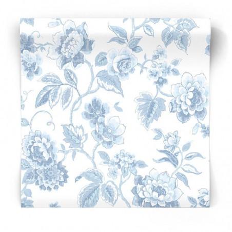 tapeta ścienna w niebieskie kwiaty w stylu hampton