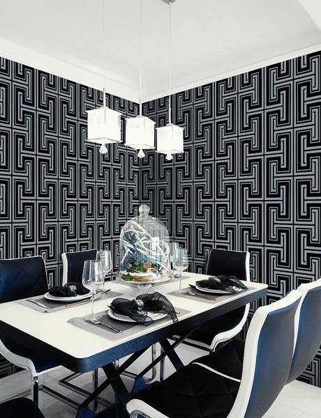 tapeta szaro czarna w geometryczne wzory