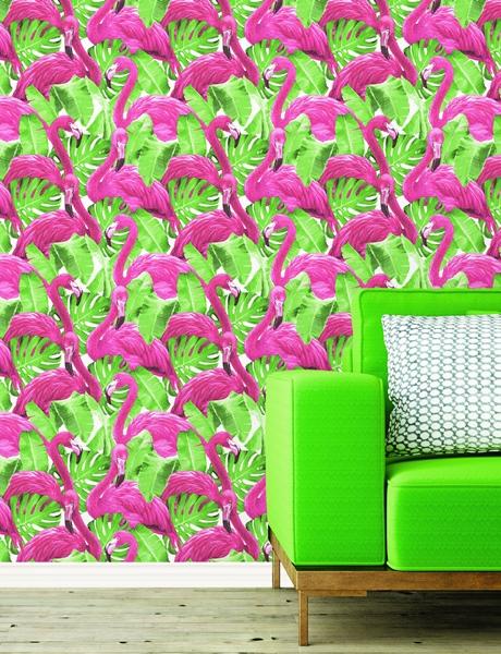 Tapeta różowe flamingi tropikalna