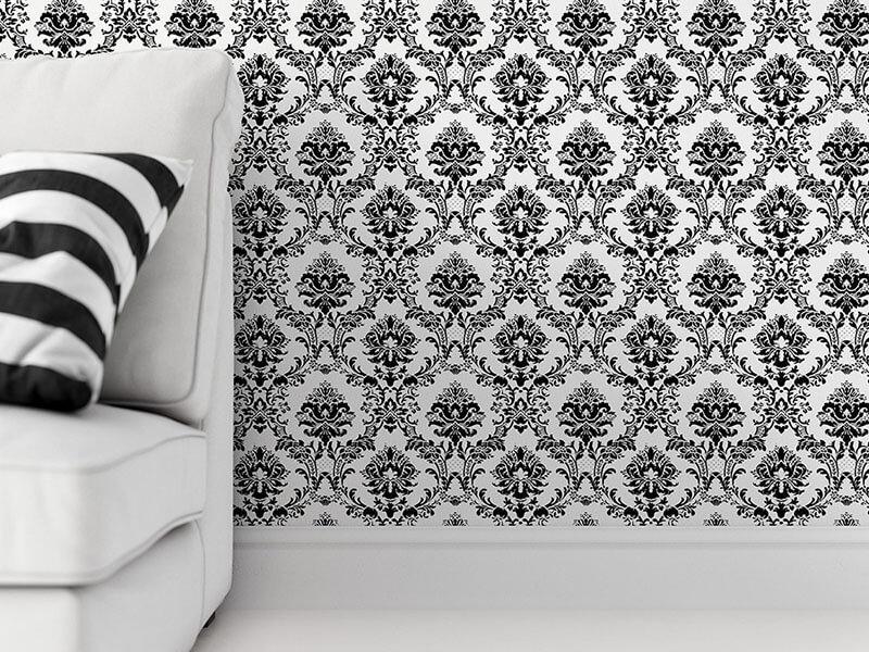 Tapeta w czarno białe ornamenty