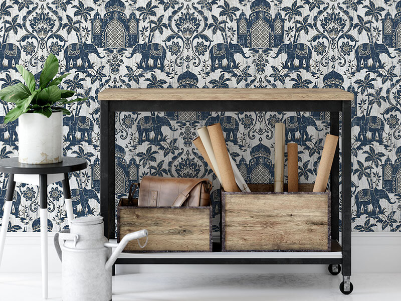 Biało niebieska tapeta maroko
