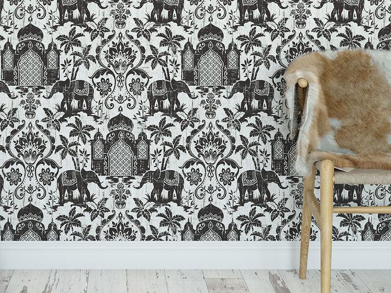 Czarno biała tapeta w słonie