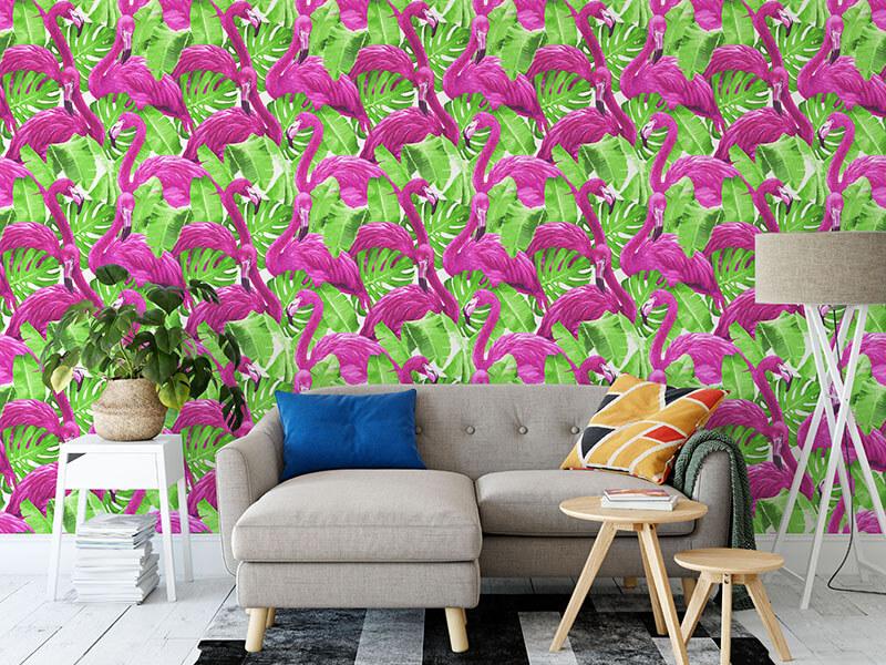 egzotyczna tapeta w flamingi